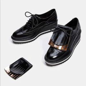 Zara black platform brogues oxford